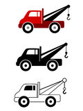 Tow Truck set. Set of tow trucks in color, silhouette and black outline Royalty Free Illustration