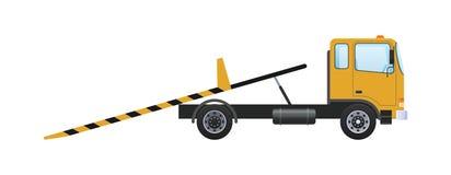 Tow truck with sliding platform, vehicle lifting with retractable ramps. Tow truck with platform, vehicle lifting with ramps, fastening belts. Car for stock illustration