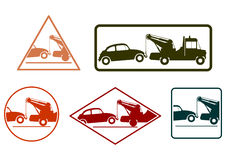 Tow truck stamp set Stock Photos