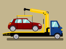 Tow truck takes away car cartoon vector Stock Image
