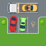 Tow truck takes the car in the Parking lot. Tow truck takes away car parked in the handicapped spot. Violation of Parking top view. Color Flat style vector Royalty Free Stock Photos