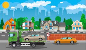 Tow truck. City road side assistance service. Royalty Free Stock Photos