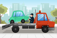 Tow truck towing a broken down car. A vector illustration of tow truck towing a broken down car Stock Photo