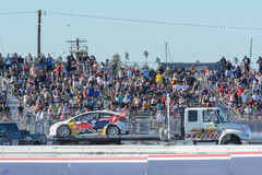 Tow truck towing Oliver Eriksson car, during the Red Bull Global Rallycross Stock Image