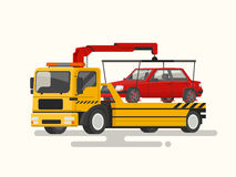 Tow truck transporting a broken machine. Vector illustration. Of a flat design Royalty Free Stock Images
