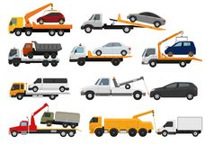 Tow truck vector towing car trucking vehicle transportation towage help on road illustration set of towed auto transport stock illustration