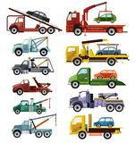 Tow truck vector towing car trucking vehicle transportation towage help on road illustration set of towed auto transport vector illustration