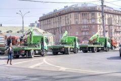 Tow trucks on the street Stock Photo