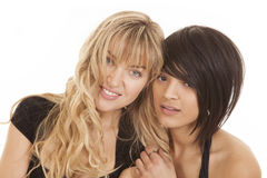 Tow women heads smile Royalty Free Stock Image