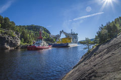 The towage of mv north sea giant has started Royalty Free Stock Images
