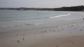 Towan beach Newquay North Cornwall England UK stock video