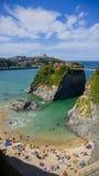 Towan strand i Newquay, Cornwall Royaltyfria Bilder