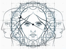 Toward Fate. Interplay of Zodiac symbols, outlines of human heads, directional arrow and abstract design elements on the subject of astrology, fortune telling Royalty Free Stock Photography