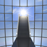 Toward the light. One 3d render of a staircase into a cage. the staircase is pointing to a hole in the cage  from whom enter the sunlight Stock Image