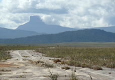 Toward the Toron waterfall. In the heart of the Venezuelan Gran Sabana, with the breathtaking view of Ptari tepuy Royalty Free Stock Photography