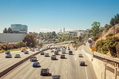 Towards Universal City. Los Angeles, CA - Jul 30, 2017: U.S. Highway 101 or U.S. Route 101 directing towards Universal City in Los Angeles stock images