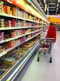 Towary w sklepów produktów terenie Troyeshchina, Kyiv obraz stock