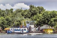 Towboat On Sava River - Belgrade - Serbia. Photograph of a new, white-blue towboat heading upstream on Sava river - Belgrade - Serbia Stock Photo