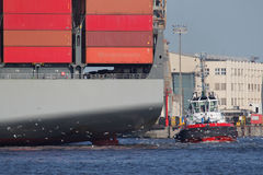 Towboat and ship at the Harbour of Hamburg Stock Image