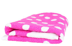 Towel. Folded pink towel isolated on white Stock Photography