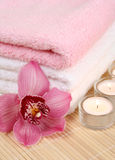 Towel And Flower Stock Photos