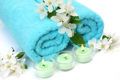 Towel And Flowers Royalty Free Stock Image