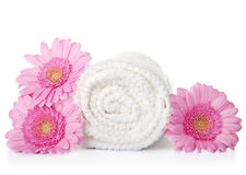 Towel And Flowers Stock Image