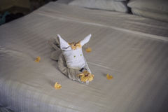 Towel animal on a hotel bed Stock Photo