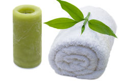 Towel with bamboo leaf stock photos