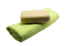 Towel with a bar of soap Stock Photos