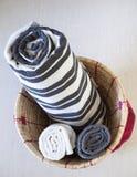 Towel in Basket Royalty Free Stock Photos