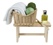Towel in basket isolated on white background. Towel in basket isolated on white stock photos