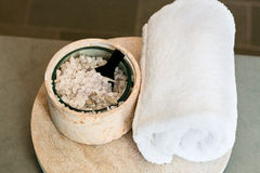 Towel and bath salt Royalty Free Stock Photography
