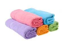 Towel, bath towel on background. Stock Photo