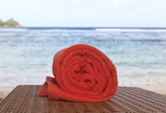 Towel on the beach Royalty Free Stock Image
