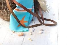 Towel in beach bag Stock Image