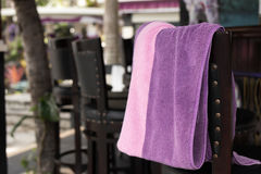 Towel beach on the bar chair. Tropical island Bali, Indonesia. Stock Photo