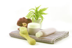 Towel with beauty and hygiene products Royalty Free Stock Photo