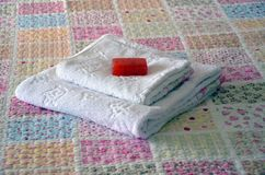 Towel bed Royalty Free Stock Image