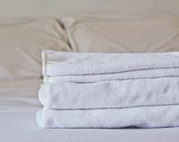 Towel on the bed Stock Photography