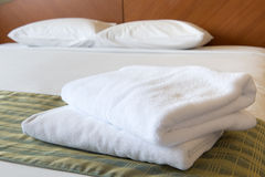 Towel on the bed Royalty Free Stock Image