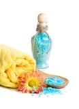 Towel, Blue bath salt and flower Royalty Free Stock Photos