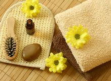 Towel, bottle, stone and flowers Royalty Free Stock Image