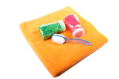 Towel  brush salt for  bathroom Stock Photos