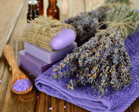 Towel and  bunch of lavender Stock Photo