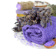 Towel and a bunch of lavender Royalty Free Stock Photo