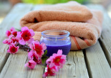 Towel candle flowers Stock Image