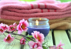 Towel candle flowers Royalty Free Stock Photography