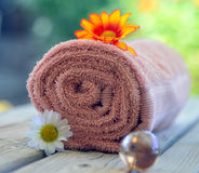Towel candle flowers Royalty Free Stock Photos