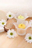 Towel and candles Stock Photo